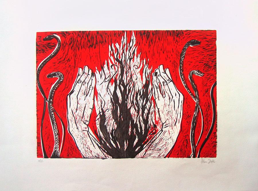manos-fuego-linograbado